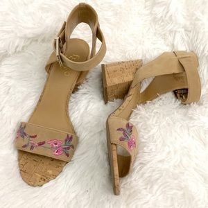 Shoes - 🌟 FLORAL EMBROIDERED TAN BLOCK HEELS